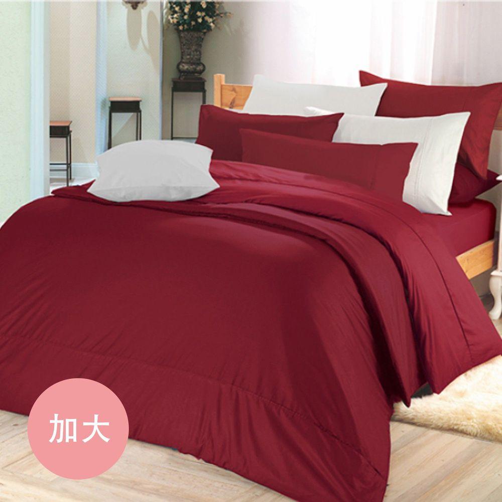 澳洲 Simple Living - 300織台灣製純棉床包枕套組-魅力酒紅-加大