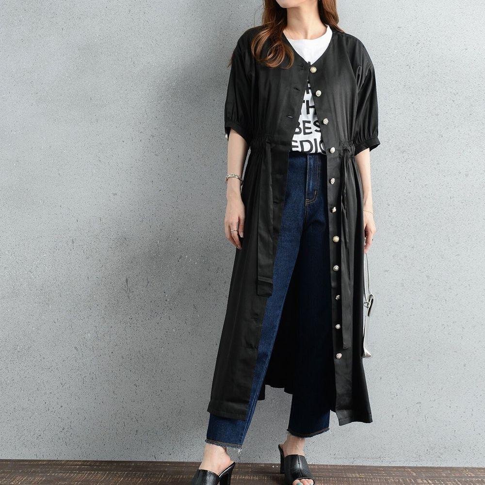 日本 ELENCARE DUE - 優雅V領腰間綁帶排釦五分袖洋裝/罩衫-黑