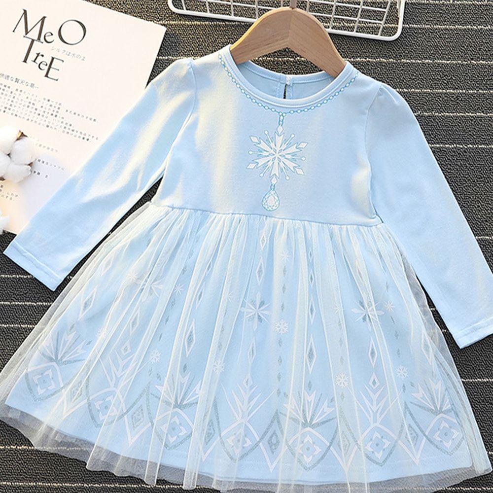 長袖造型公主裙-冰雪藍