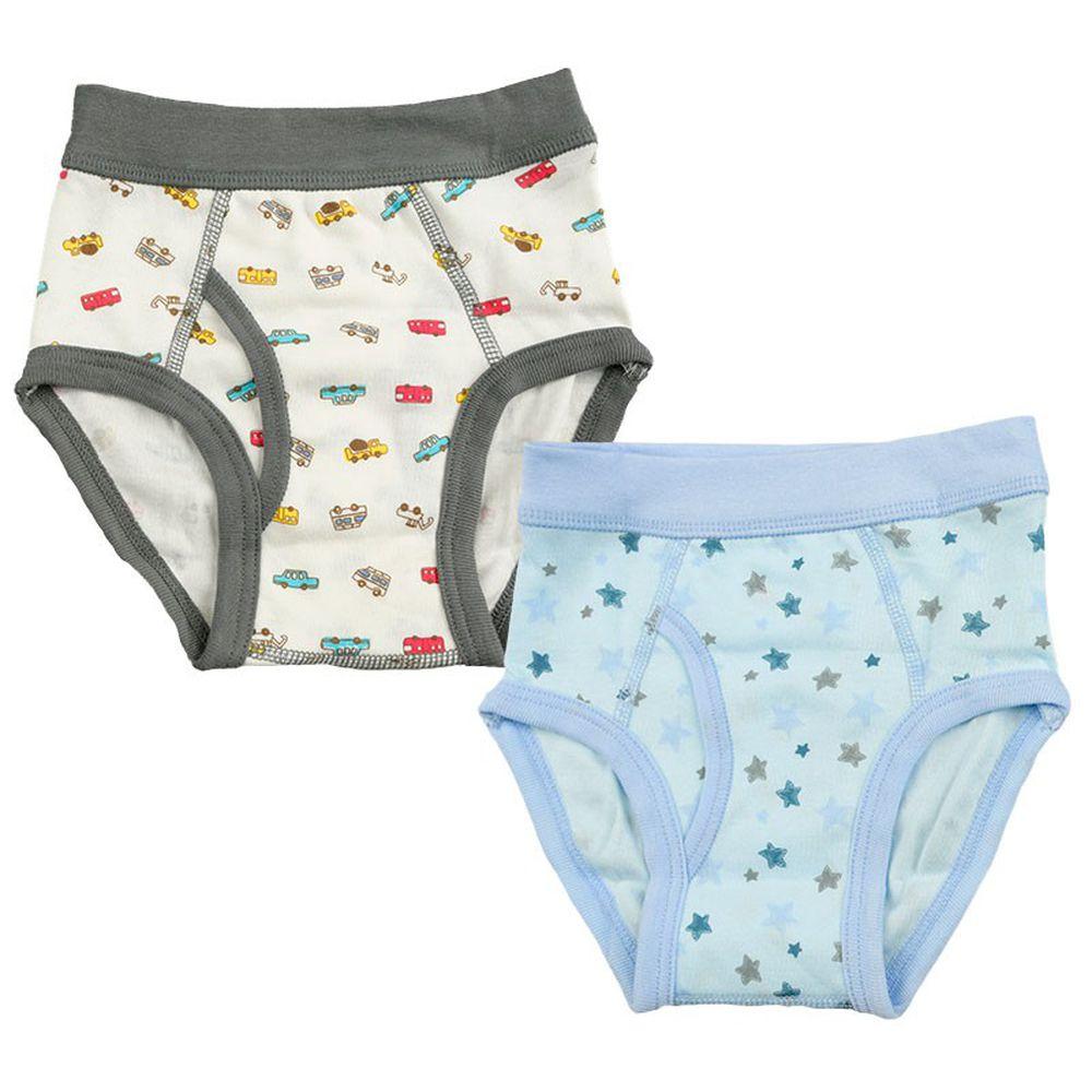 akachan honpo - 三角褲2件組-工程車-白色&淺藍色