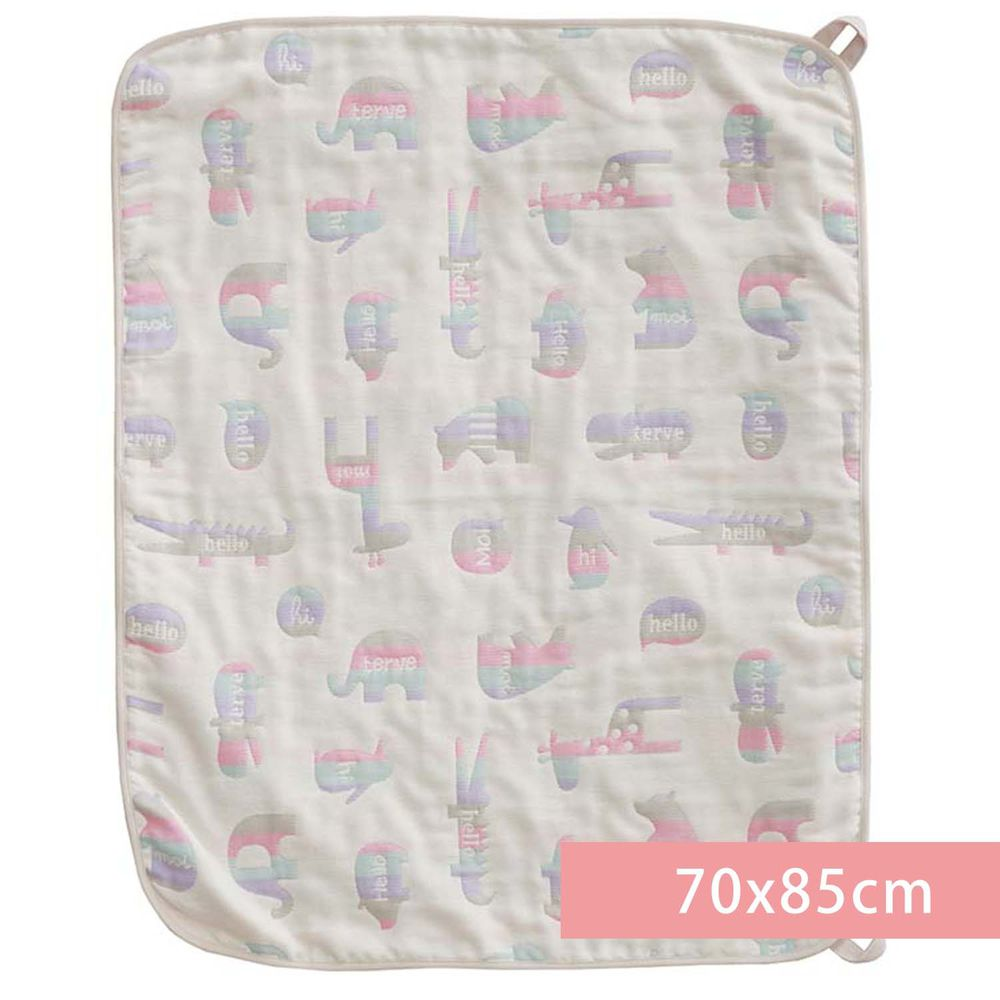 akachan honpo - 多用途6層棉紗被-動物-淺卡其色 (70x85cm)