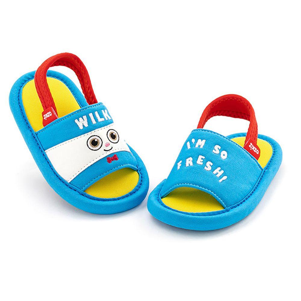 韓國 OZKIZ - 消音防滑室內鞋-鬆緊帶款(布萊德理髮廳)-藍