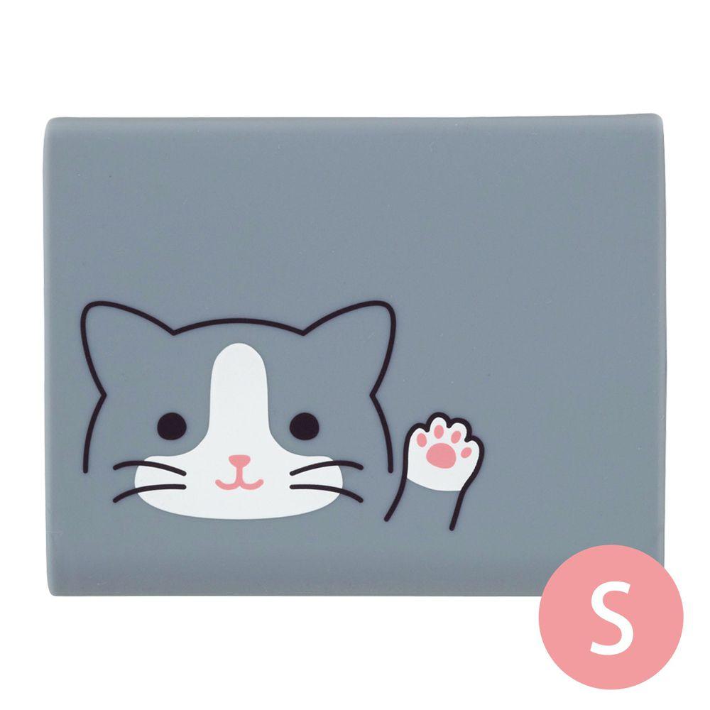 日本文具 LIHIT - 便條紙收納盒(附便條紙)-灰貓 (S(長條*2))