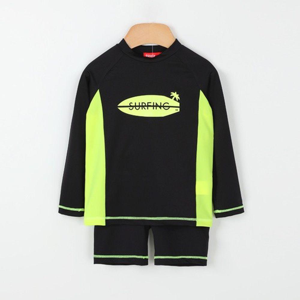 韓國 OZKIZ - 長袖防曬兒童泳衣-二件組-黑色椰子島