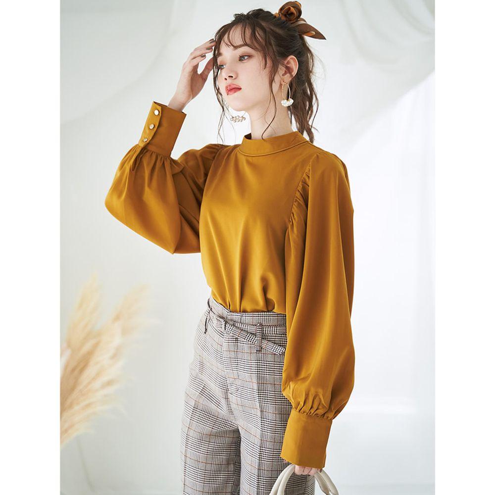 日本 GRL - 奢華雪紡質地澎袖長袖上衣-芥末黃