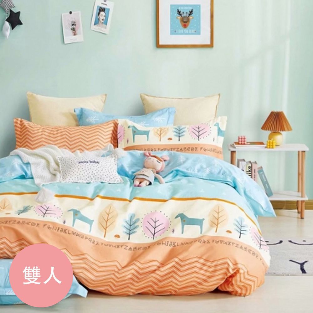 PureOne - 極致純棉寢具組-守護神-雙人四件式床包被套組