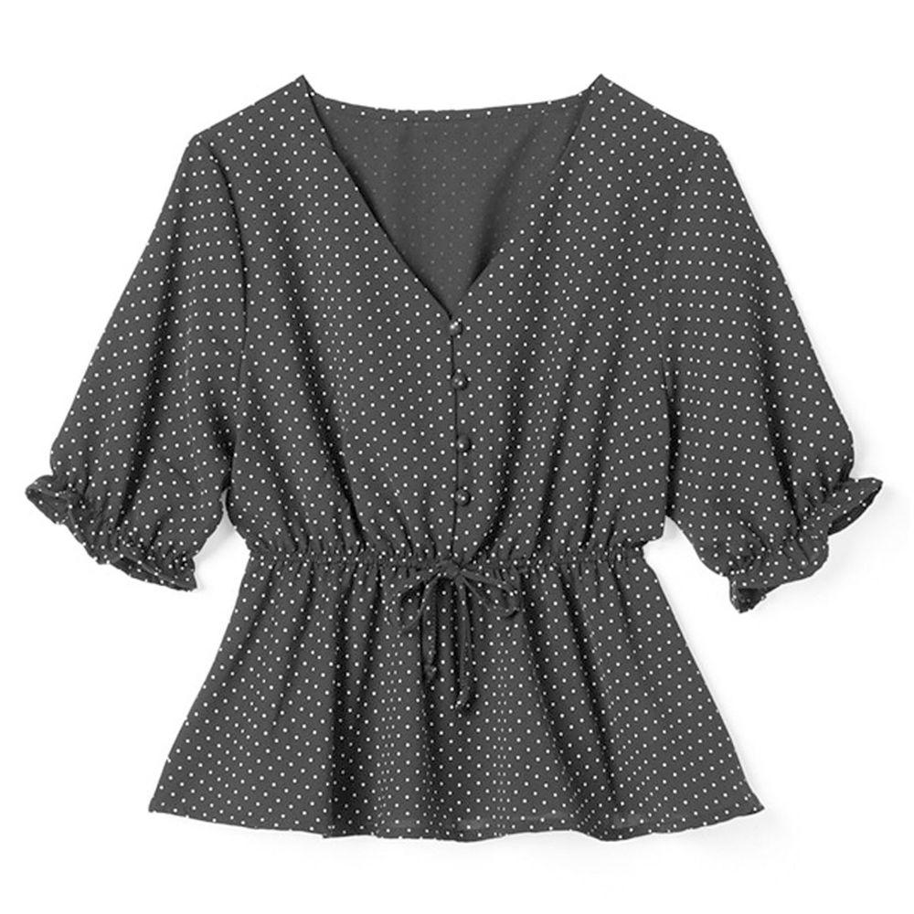 日本 GRL - 復古點點V領收腰五分袖雪紡上衣-時尚黑 (F)