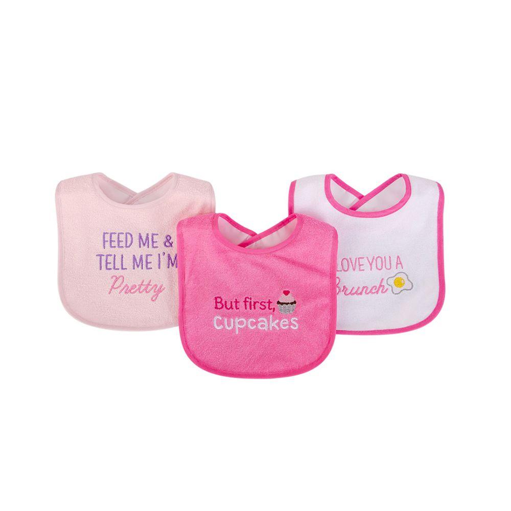 美國 Luvable Friends - 嬰幼兒雙層吸水口水巾圍兜3入組-桃色杯子蛋糕