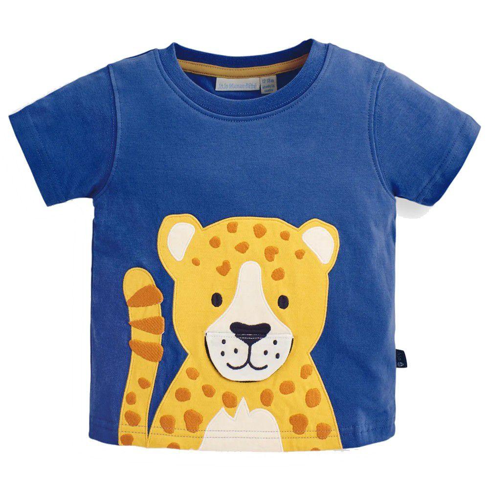 英國 JoJo Maman BeBe - 超優質嬰幼兒/兒童100%純棉短袖上衣/T-shirt/動物T-美洲豹