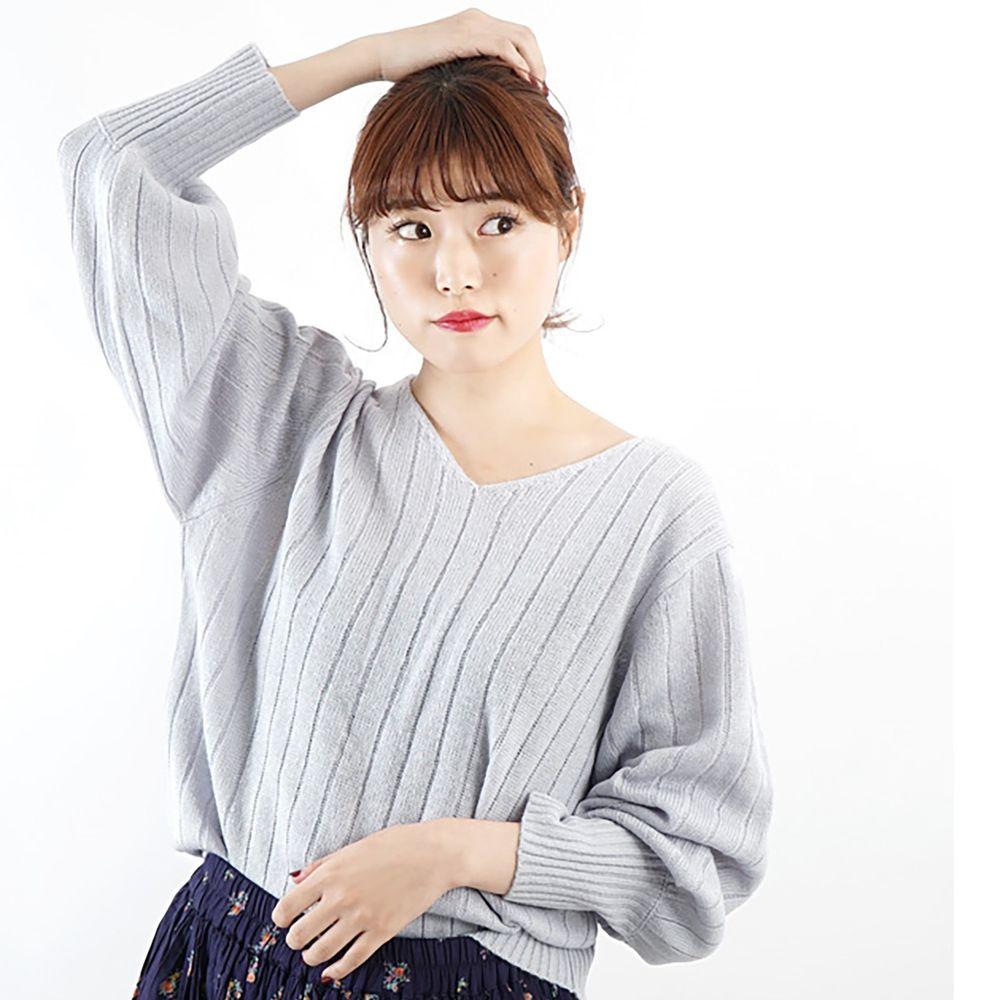 日本 zootie - 顯瘦V領粗羅紋薄針織上衣-冰雪藍