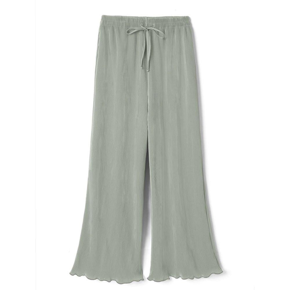 日本 GRL - 慵懶垂墜羅紋寬褲-星塵綠