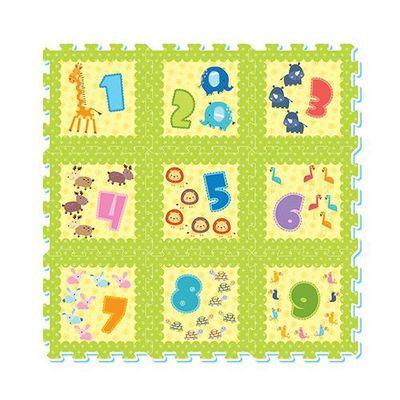 彩色印圖拼接墊-數字天地-繽紛綠 (32x32cm)-9片