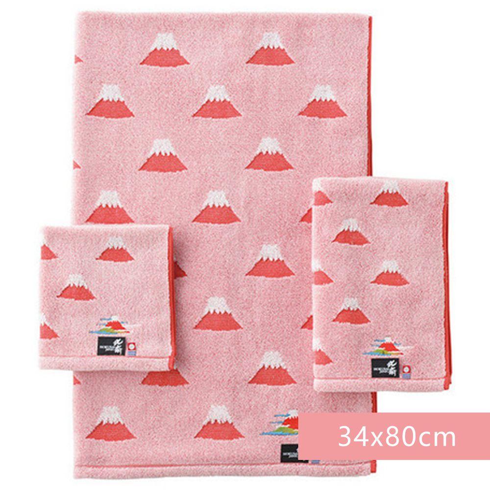 日本代購 - 日本製今治純棉長毛巾-富士山-紅 (34x80cm)