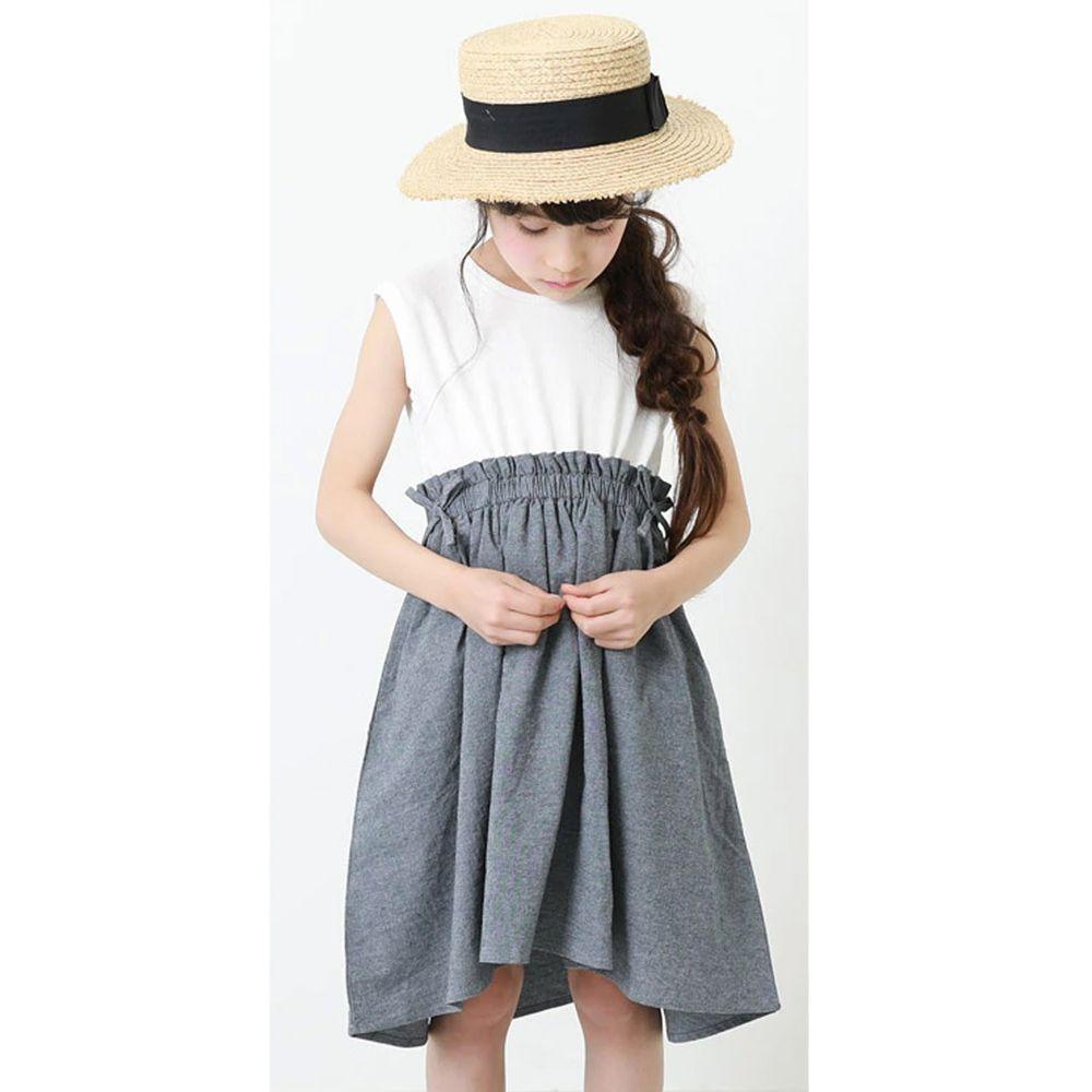 日本 devirock - 拼接修身無袖洋裝-白X深藍