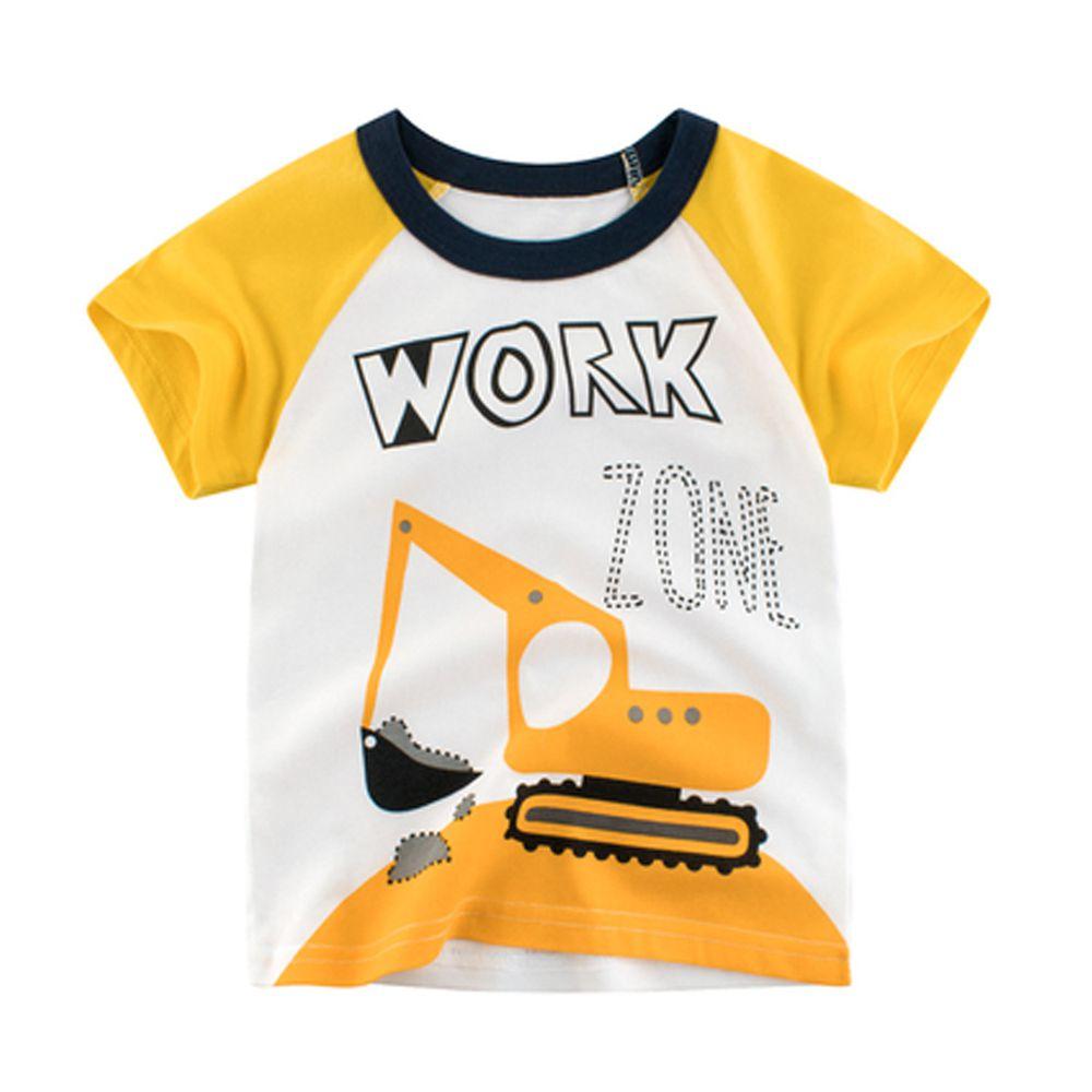 短袖棉T-work zone挖土機