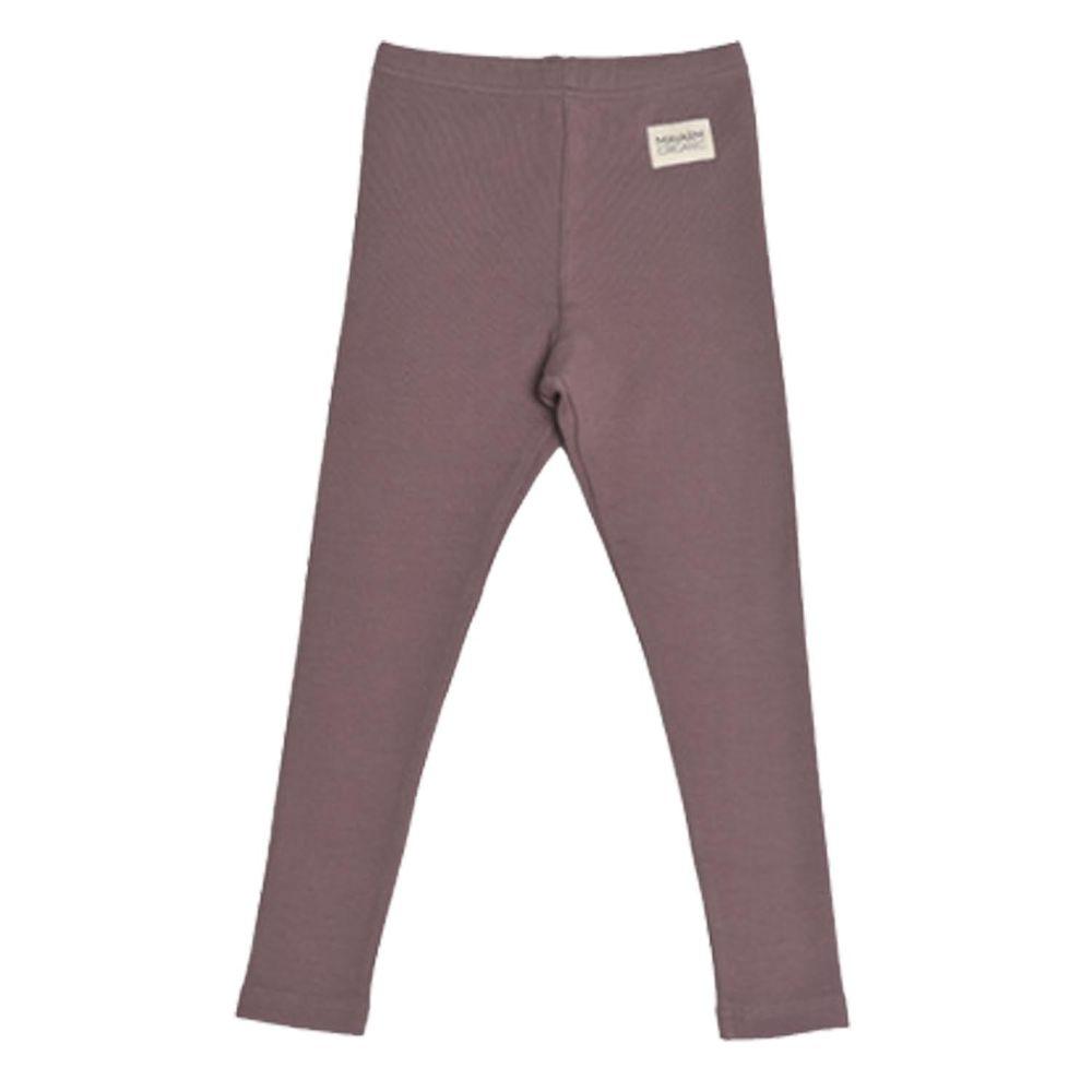 韓國 Mavarm Organic - 有機棉桃皮絨素色內搭褲-咖啡紫