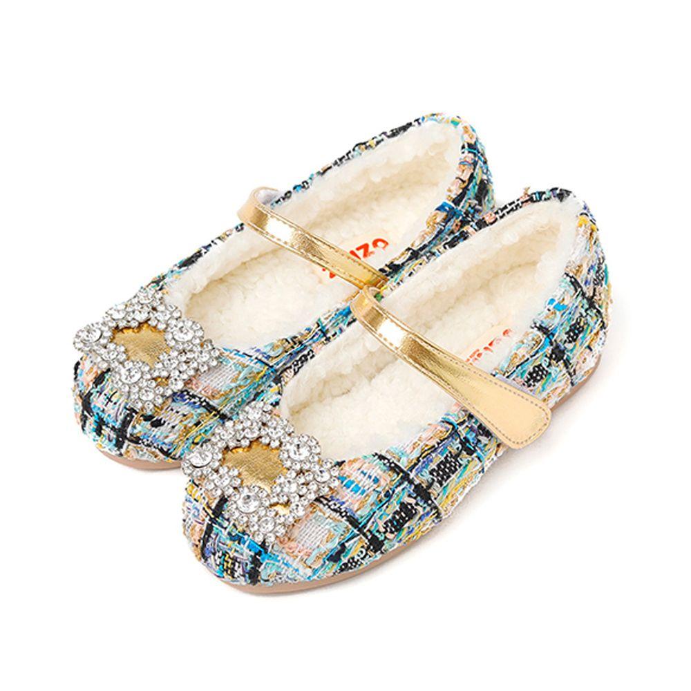 韓國 OZKIZ - (內刷毛)貴族方鑽格紋針織感皮鞋