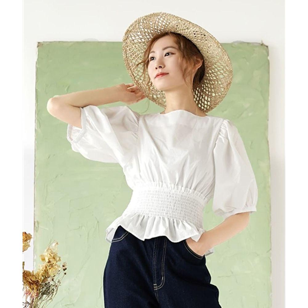 日本 zootie - 復古澎澎袖鬆緊縮腰五分袖上衣-白