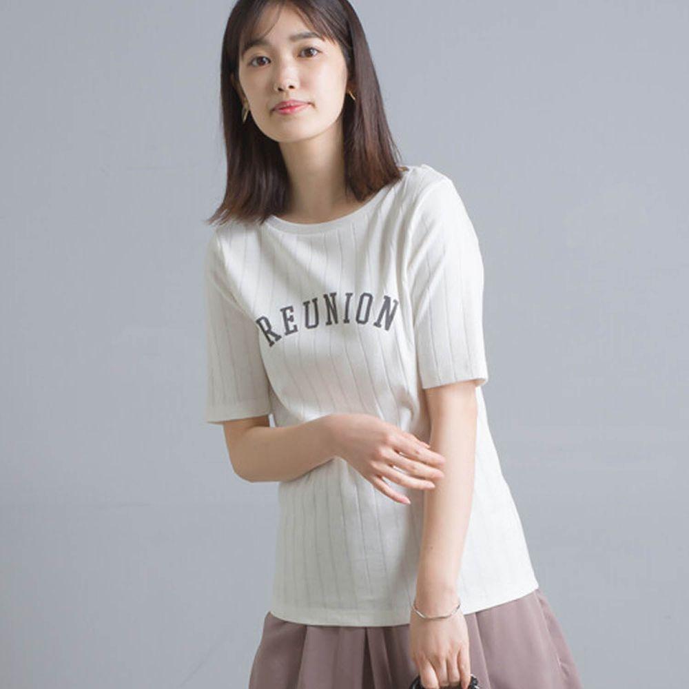 日本女裝代購 - 防透汗加工 粗羅紋五分袖T-REUNION-白