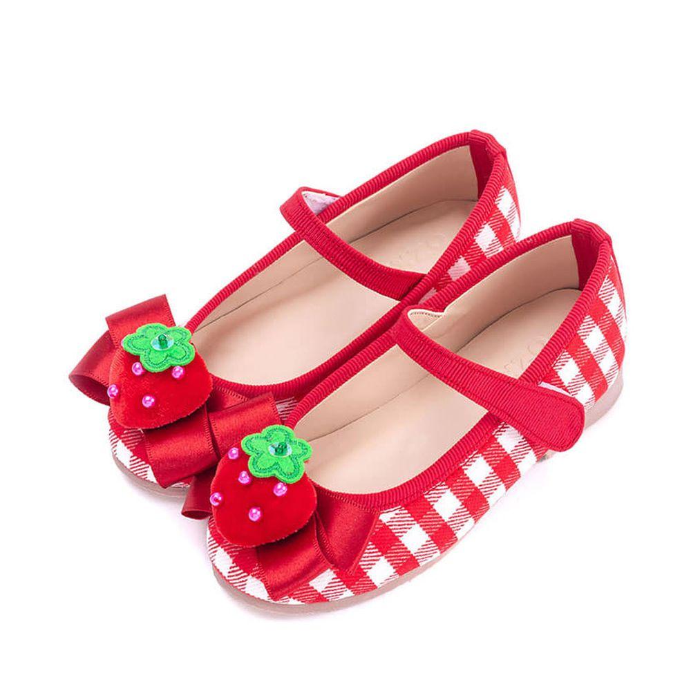 韓國 OZKIZ - 草莓格子皮鞋