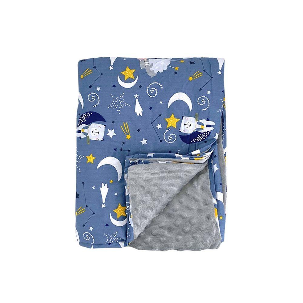 JoyNa - 兒童四季款多功能被套毯 親膚棉被-藍色睡覺覺-被套蓋毯 (120*150cm)