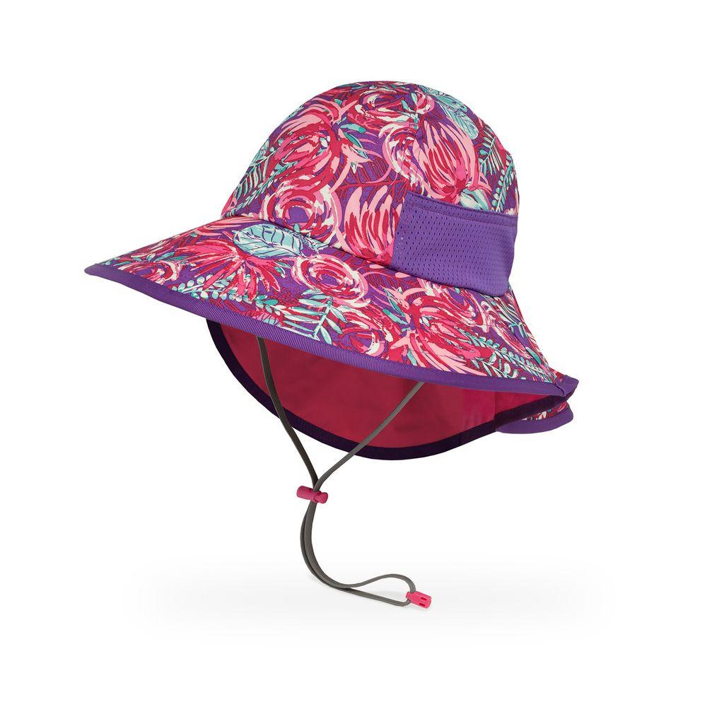 Sunday Afternoons - 兒童防曬帽-兒童抗UV防潑透氣護頸帽Kids Play Hat-紫紅繁花