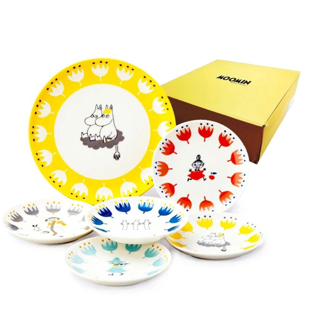 日本山加 yamaka - moomin 嚕嚕米彩繪陶瓷淺盤禮盒-MM1000-52-6入組