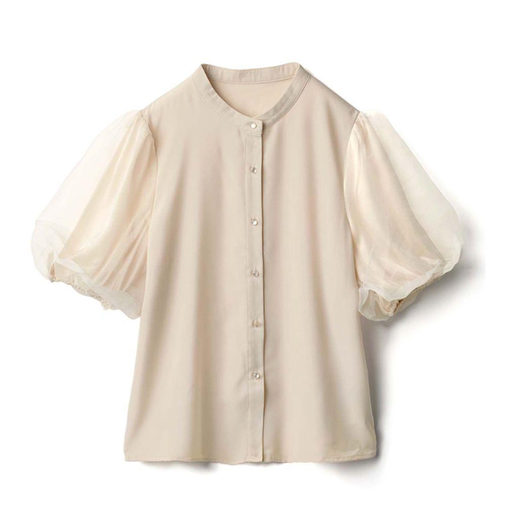 日本 GRL - 時尚薄紗澎澎五分袖襯衫上衣-氣質米