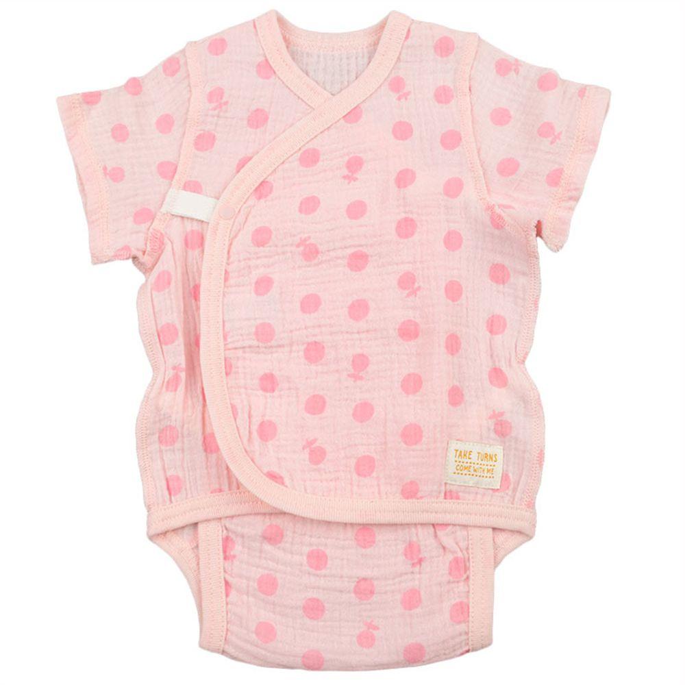 akachan honpo - 新生兒短袖包屁衣-穆斯林紗布-粉紅色 (50~60cm)