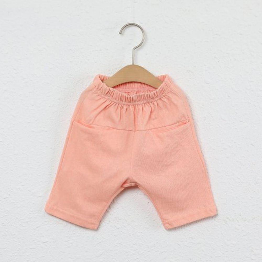 韓國製 - 平口袋純棉7分褲-蜜桃橘