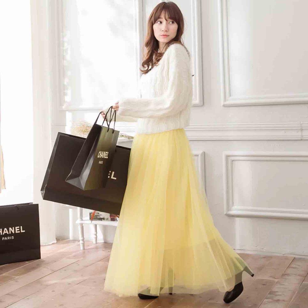 Peachy - 獨家訂製綿柔法式浪漫三層蓬紗裙-三層蓬版-嫩鵝黃 (F)