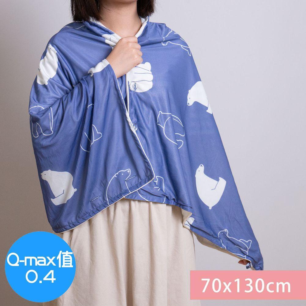 日本小泉 - 節電對策冷感薄毯 (附釦可作披肩)-北極熊20-深藍 (70x130cm)