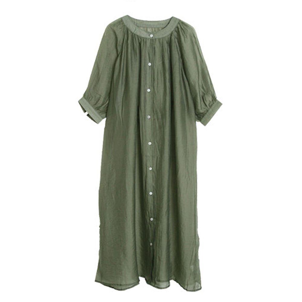 日本女裝代購 - 透明感後綁結開襟洋裝/外套-墨綠 (M(Free size))