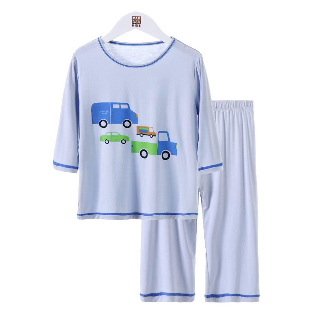 莫代爾七分袖套裝/家居服-汽車-藍色
