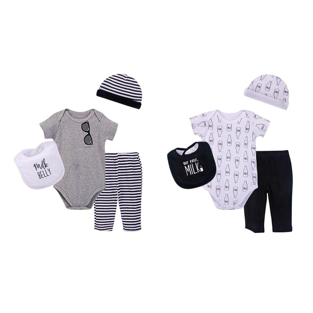 美國 Luvable Friends - 嬰幼兒包屁衣與長褲最佳送禮8入禮盒組-黑白牛奶瓶 (0-6M)