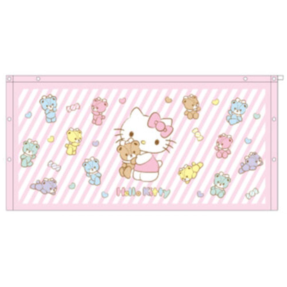 日本服飾代購 - 純棉海灘/游泳浴巾/浴袍 (附釦)-Hello Kitty-粉紅條紋 (長60cm(幼稚園~國小低年級))