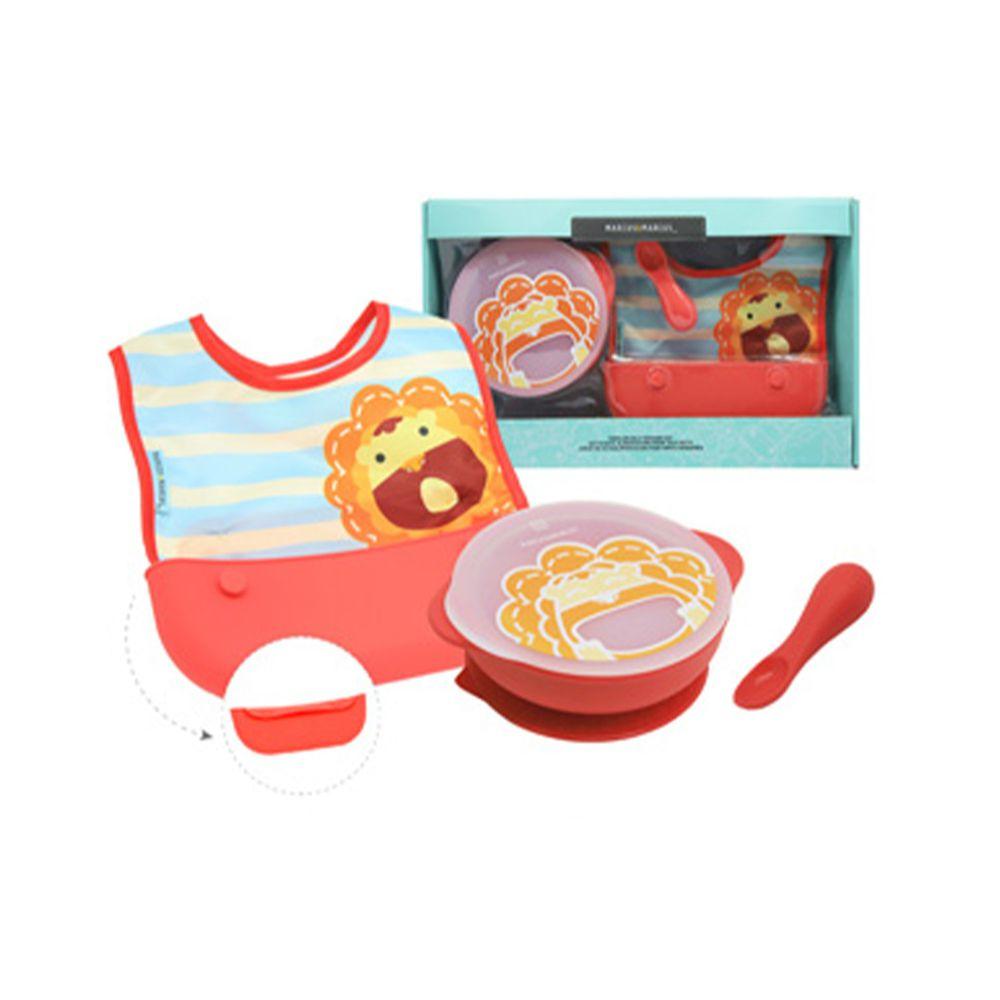 MARCUS&MARCUS - 動物樂園自主用餐學習禮盒組-紅獅子