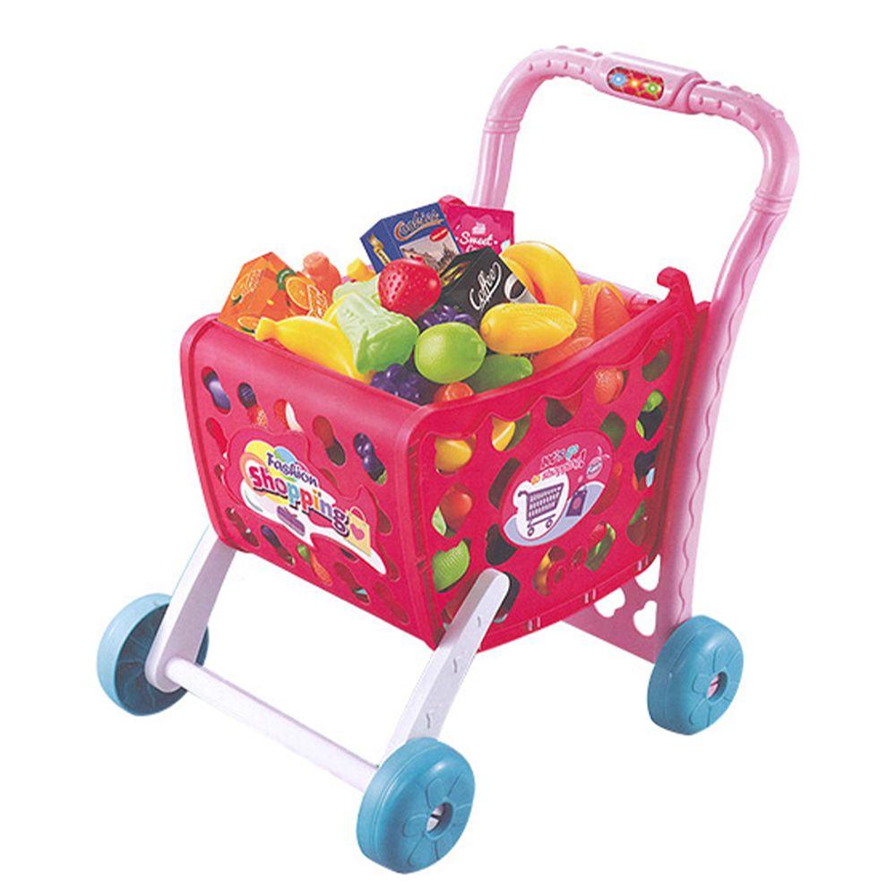 酷比樂 - 【家家酒玩具】聲光購物推車 粉紅色 5961A