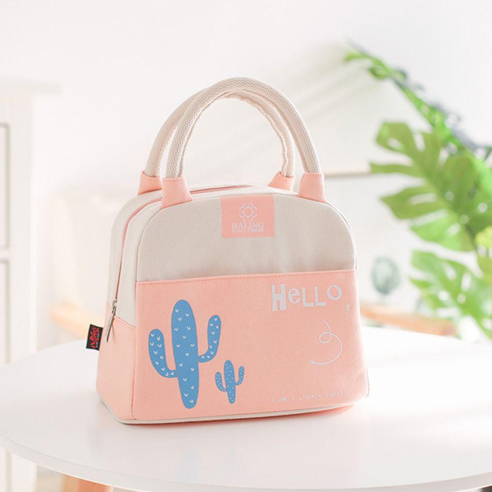 清新手提保溫午餐包便當袋-粉色 (24*16*21cm)