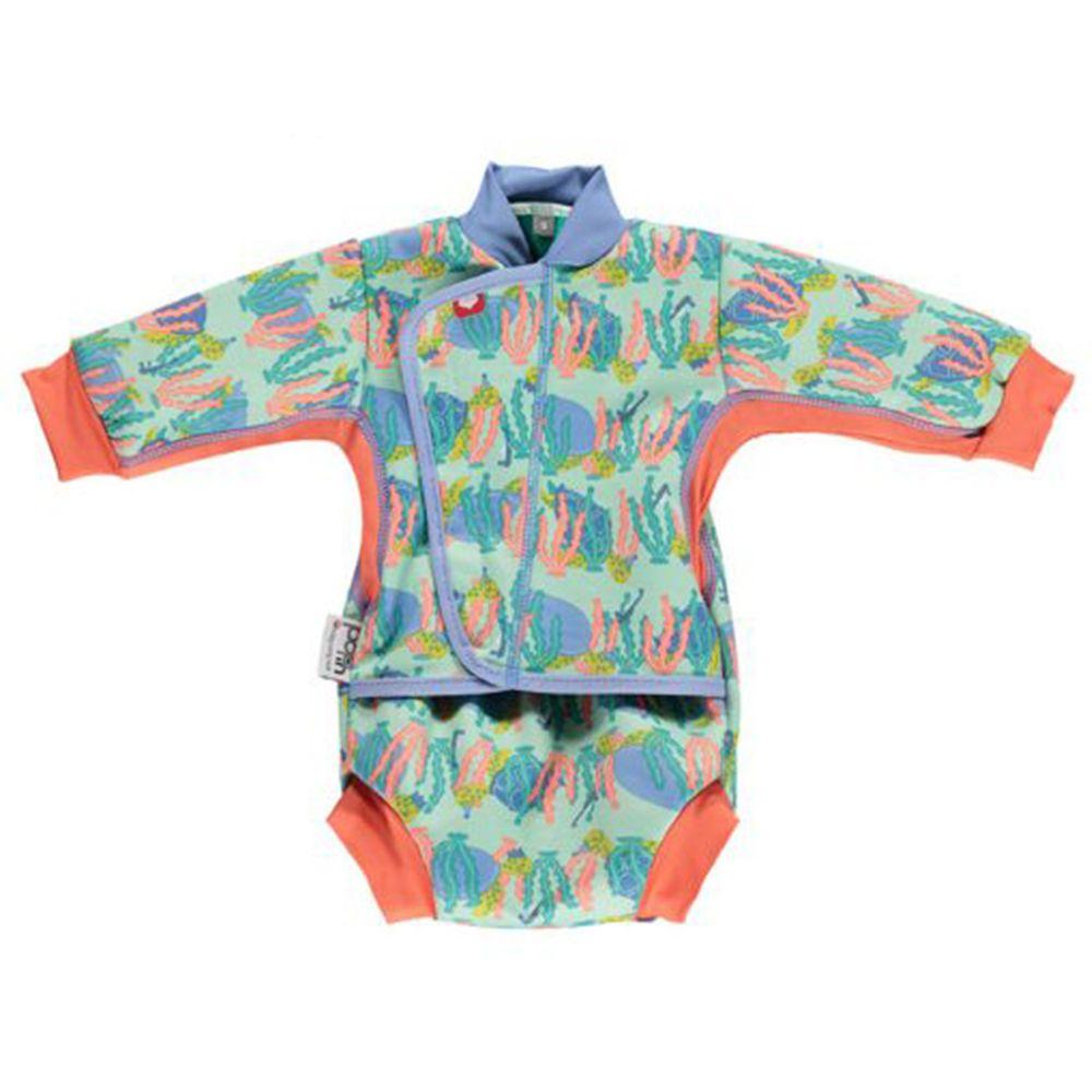 英國Pop-in - 嬰兒抗UV連身保暖泳裝-海龜 (M(6-12m))