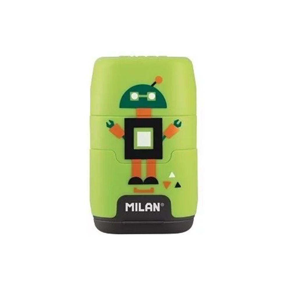 MILAN - COMPACT橡皮擦+削筆器_快樂機器人(綠)