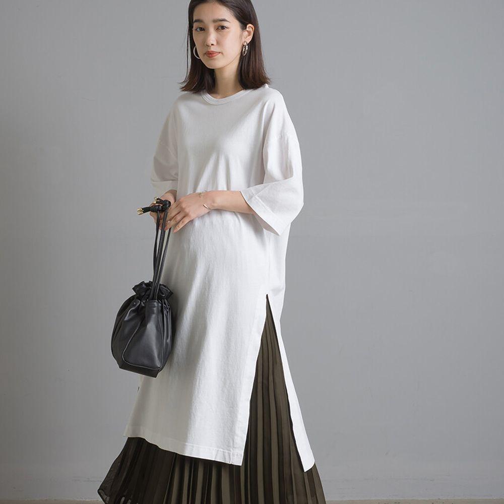 日本女裝代購 - 設計感側開衩純棉短袖洋裝-白 (Free size)