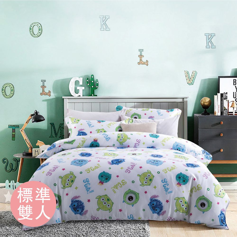 DISNEY 迪士尼 - TSUM TSUM 天絲三件式床包組-白色 (標準雙人5尺)-床包*1-5x6.2尺/枕套*2(75x48cm)