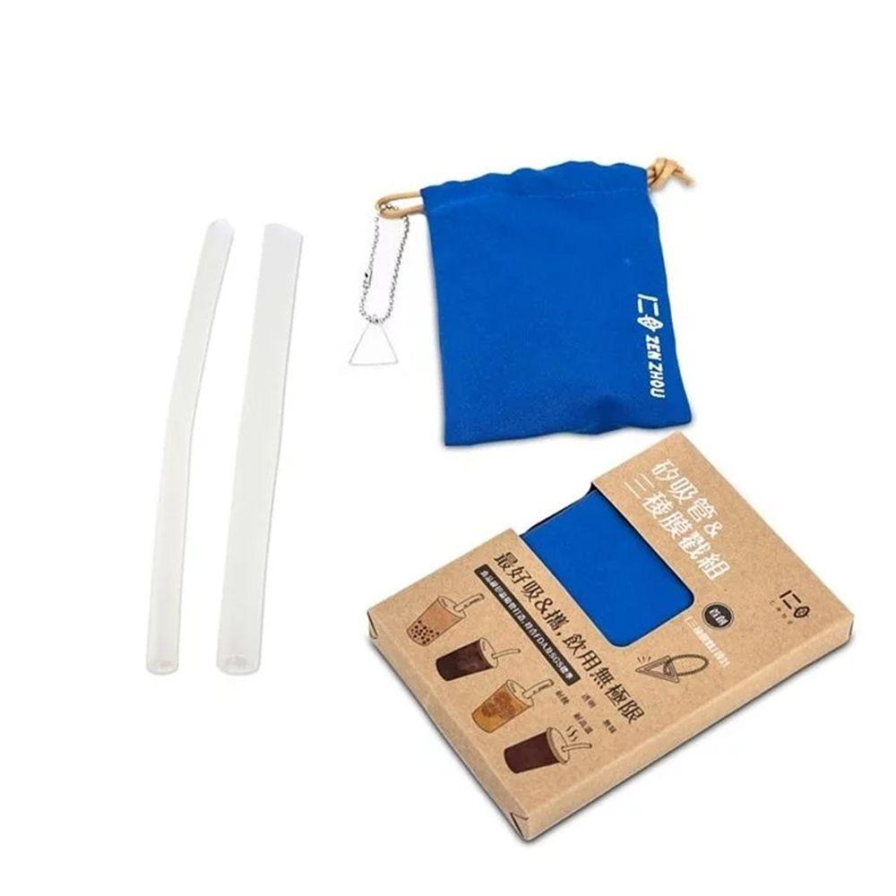 仁舟淨塑 - 新一代矽吸管&三稜膜戳組-湛海藍-單套組
