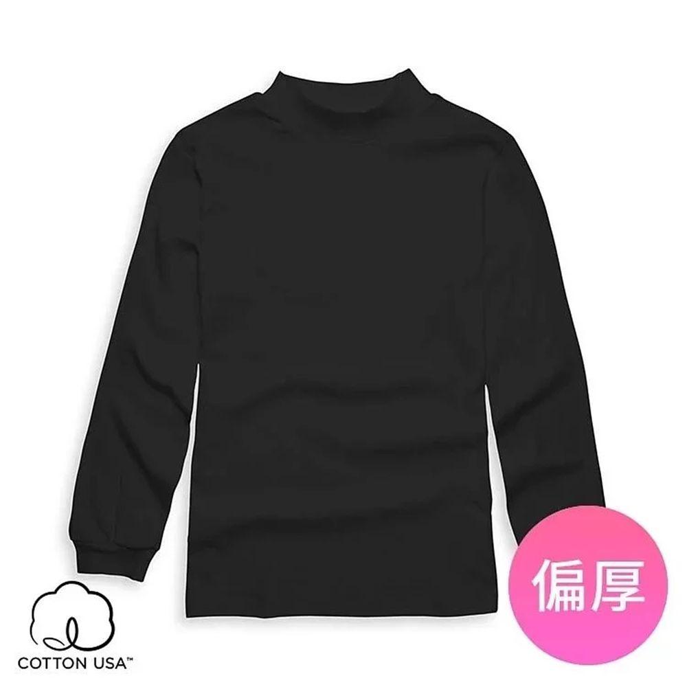 Annypepe - 兒童純棉立領衛生內衣-黑色 (110-150cm)
