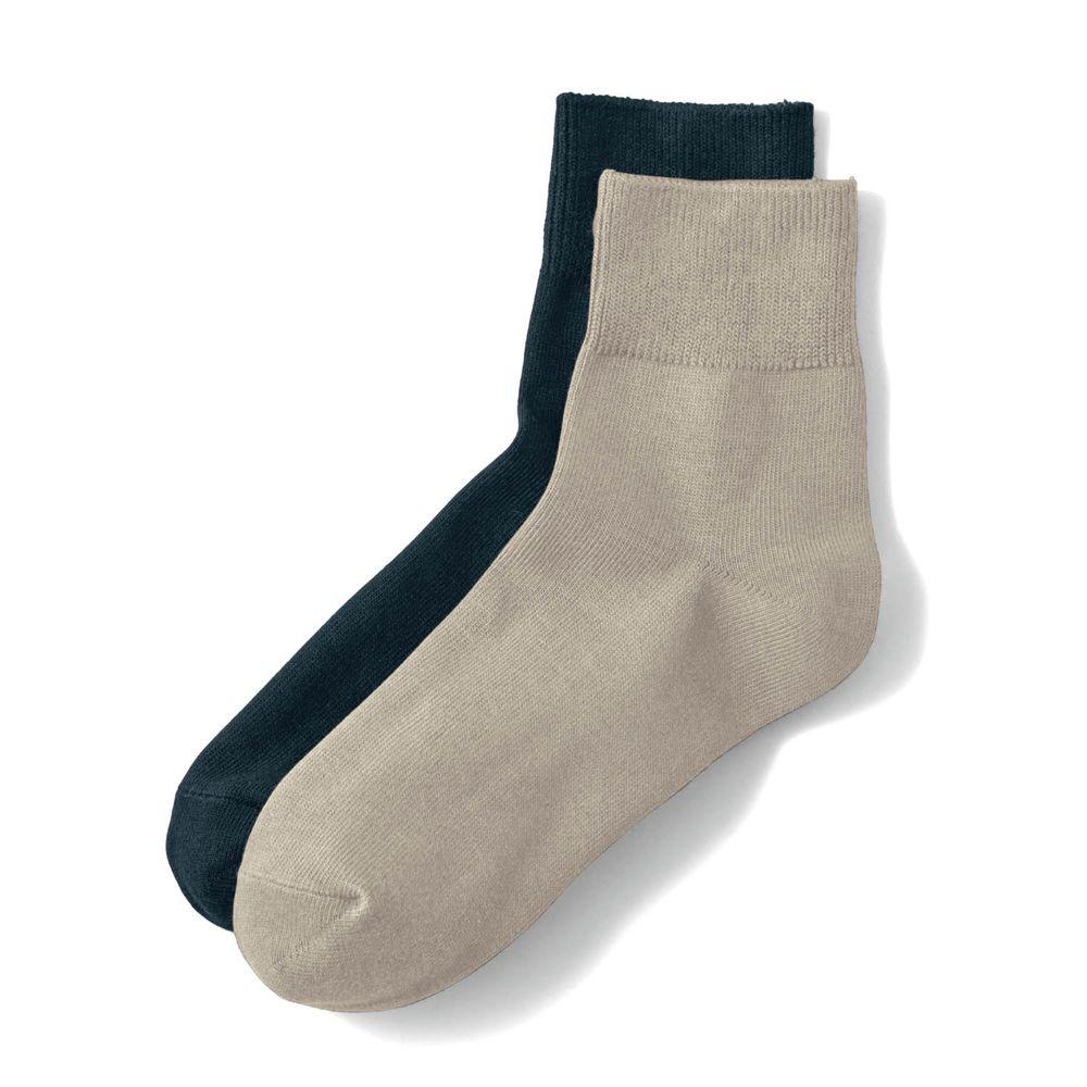 日本千趣會 - 棉混 (媽媽)短筒發熱襪兩件組-黑+杏 (23-25cm)