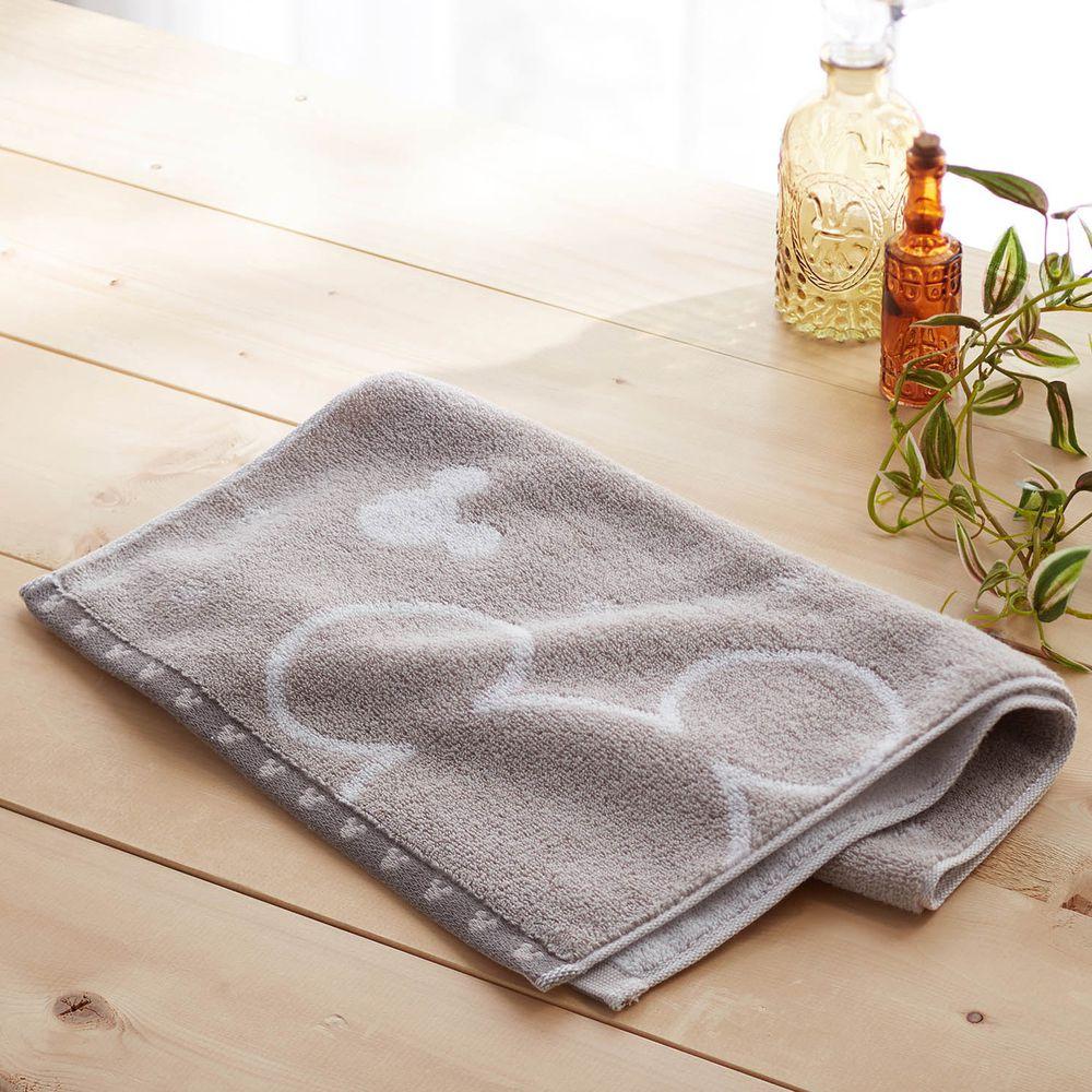 日本千趣會 - 迪士尼 吸水速乾抗菌長毛巾-大小頭-淺灰 (34x80cm)