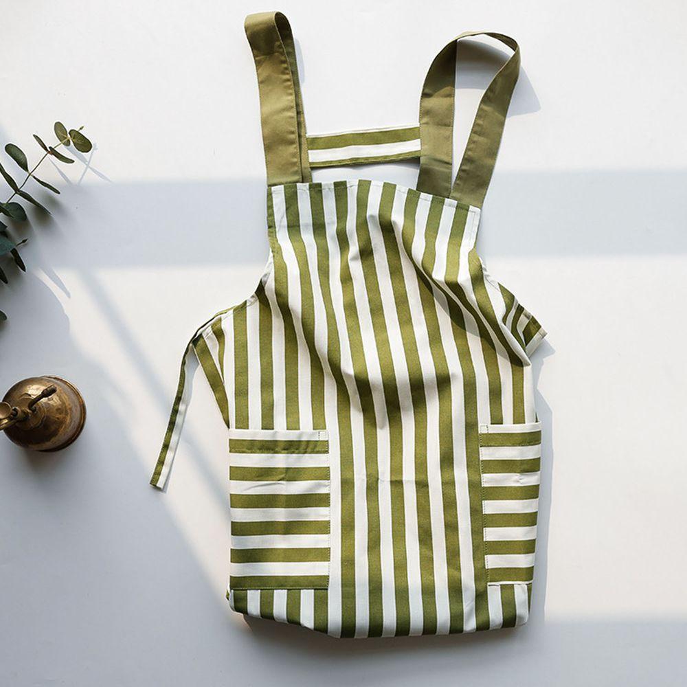 日系清新風圍裙-條紋-豆沙綠