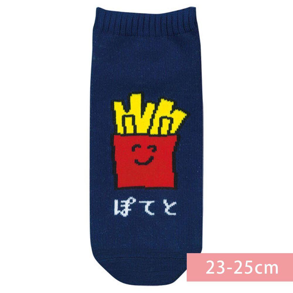 日本 OKUTANI - 童趣日文插畫短襪-薯條-深藍 (23-25cm)
