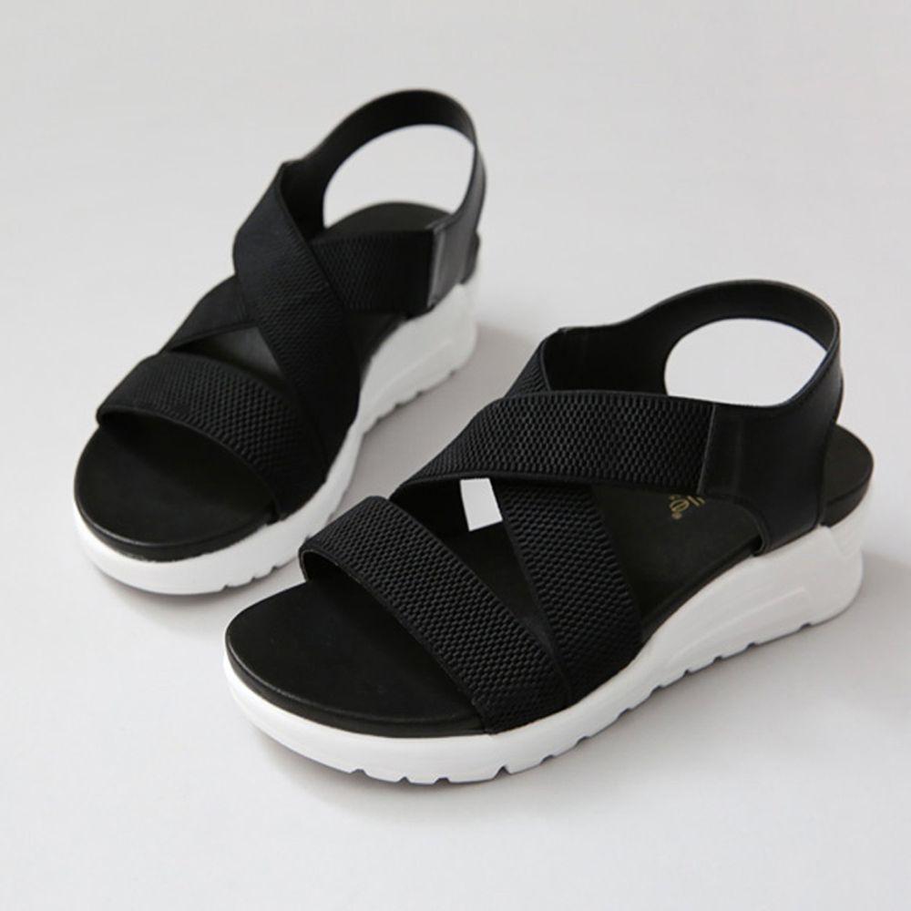 韓國 Dangolunni - 交叉伸縮帶軟後底涼鞋(5cm高)-黑